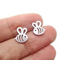 Westeng Ear Stud Men Women Silver Alloy Stud Earrings Bee Shape Jewelry Earring Sterling 1 Pair