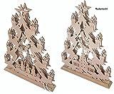 Weihnachts Advent Deko Beleuchtung Holz Tannenbaum Winterland Lampe Fensterdeko Tischdeko (TYP C)