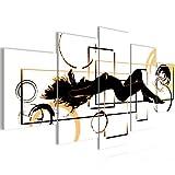 Bilder Abstrakt Frau Wandbild 200 x 100 cm Vlies - Leinwand Bild XXL Format Wandbilder Wohnzimmer Wohnung Deko Kunstdrucke Orang 5 Teilig -100% MADE IN GERMANY - Fertig zum Aufhängen 300251a