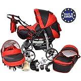 Baby Sportive - Sistema de viaje 3 en 1, silla de paseo, carrito con capazo y silla de coche, RUEDAS ESTÁTICAS y accesorios, color negro, rojo