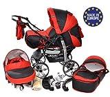 Kamil - Landau pour bébé + Siège Auto - Poussette - Système 3en1, incluant sac à langer et protection pluie et moustique - ROUES NON PIVOTABLES (Système 3en1, noir, rouge)