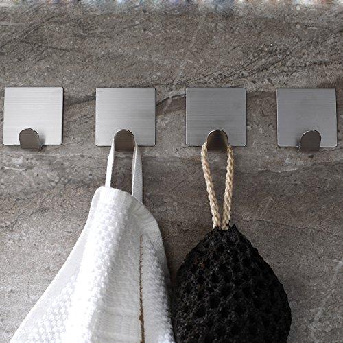 Handtuchhaken Kleiderhaken Ohne Bohren Bad und Küche Gebürstetes Edelstahl 4 STÜCK ()