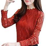 Internet_8810 Damen Sexy Oberteile Langarmshirt Tops mit Spitze Elegant Stehkragen Langarm Hemd Pullover Tops Mode Herbst Bluseshirt Business Oberteile