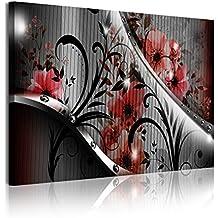 DekoArte 326 - Cuadro moderno en lienzo 1 pieza diseño con flores rojas, 120x3x80cm