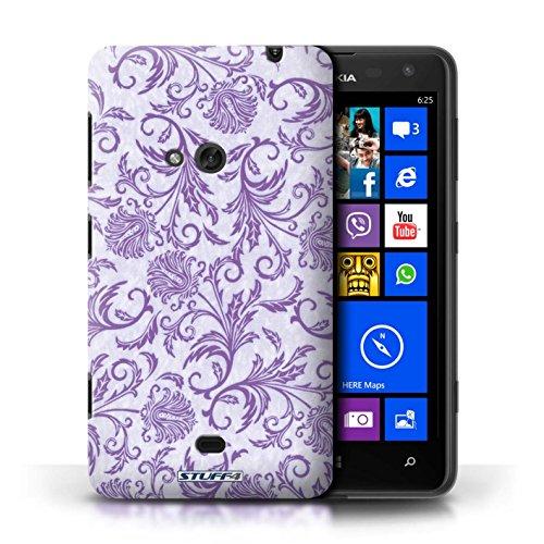Coque en plastique pour Nokia Lumia 625 Collection Fleurs - Fond Orange Fleurs Mauves