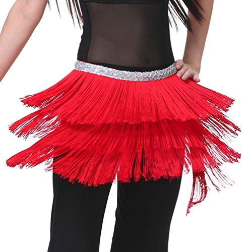YouPue Le donne sciarpa di ballo di pancia con gonna ballo nappa Sciarpa per la danza del ventre tribale Rosso