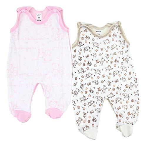 TupTam Unisex Baby Strampler Baumwolle Gemustert 2er Set, Farbe: Farbenmix 5, Größe: 56