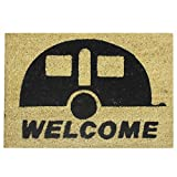 JVL Caravan Welcome Coir PVC Backed Entrance Door Mat - 36 x 50 cm