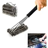 """PePeng 18"""" Triangle Metal BBQ Grill Cleaning Brush, Heavy Duty 3-Branch Stainless Steel Barbecue Bristles Cleaner for Easier and Effective Clean"""