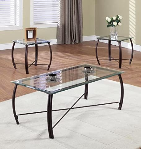 3 Pc. Beveled Glass And Copper Bronze Metal Frame Coffee Table & 2 End Tables Occasional Table Set by Kings Brand Furniture