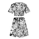 Frauen Sommer 3D Cartoon Ahegao Gedruckt Zwei Stücke Set Pyjamas Kurzarm Tee + Rock Lustige Tanzen Anzug Jubeln Squad Kostüm (3,L)