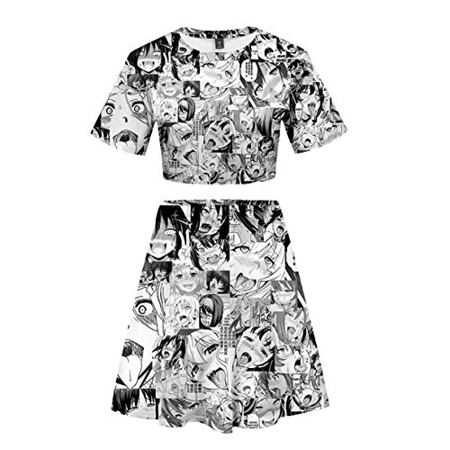 2 Stück Zwei Stück Pyjama Set (Frauen Sommer 3D Cartoon Ahegao Gedruckt Zwei Stücke Set Pyjamas Kurzarm Tee + Rock Lustige Tanzen Anzug Jubeln Squad Kostüm (3,L))