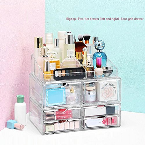 UOMUN Étui de Maquillage Cosmétique Boîte De Rangement Bureau Rack Maquillage Brosse Titulaire Transparent Tiroir Combinaison Non-acrylique Grand Espace Mode Plastique Commode Chambre Toilettes pour Femmes Cadeau 3 Ensembles