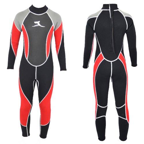 ts-ideen 3 mm Kinder Neoprenanzug Lang Surfanzug Schwimmanzug Mehrfarbig (Schwarz und Rot), Größe 116-122 cm