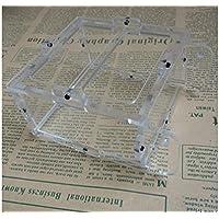 TjcmSs Contenedores de Comida de Aves acrílicas Tazón de alimentación de plástico Ronda Portavasos Parrot Pigeon Cage Alimentos Alimentador de Agua-Color Transparente
