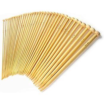 LIHAO Kit d'aiguilles à Tricoter Pointe Unique en Bambou (18 tailles, 36pcs au total)