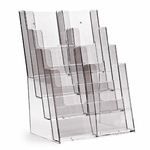 Taymar Prospektständer / Flyerständer 4 Fächer DIN A4 hintereinander mit Trennungen auch als 8 x 1/3 A4 zu benutzen