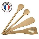 ustensiles de cuisine en bois set, ensemble complet, spatules en hêtre, Made in EU, 1 grande cuillère à sauce de 30cm, 1 spatule mortaise 30cm, 1 spatule biseautée 30cm, 1 maryse a pâtisserie