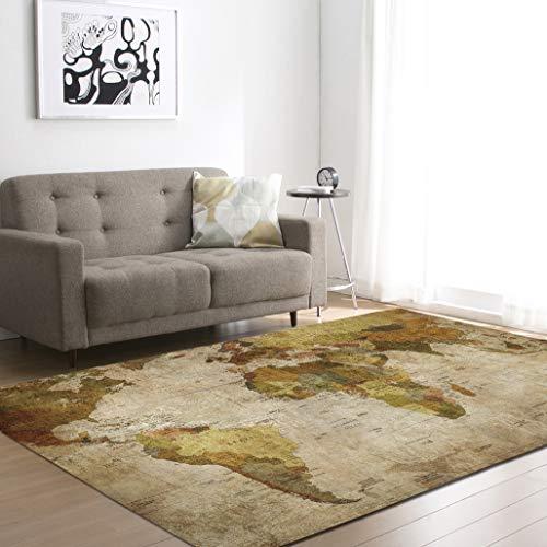 TUSIN Retro Mapa Sala Estar Alfombra patrón clásico