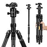 K&F Concept Trípode Monopíe Profesional TC2834C, Fibra de Carbono, 28mm Diametro del Tubo,7kg Capacidad de Carga para Cámara Réflex DSLR Full Frame Canon 70-200 EF Nikon AF-S Sony Teleobjetivo