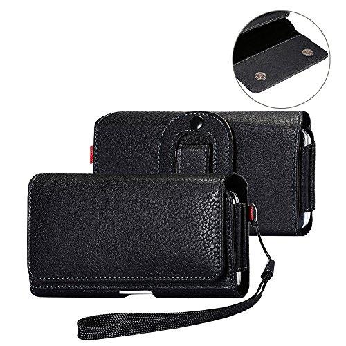 DAYNEW 3.5-4.7 Zoll Universal-PU-Leder Hüfttasche Handytasche Tasche Smartphone Holster mit Gürtelclip Haken Schleife Geldbörse Tasche für iPhone Samsung Sony Huawei-Schwarz