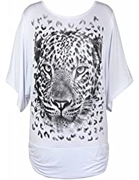 Purple Hanger - Damen T-Shirt Flügelärmel Leopardenkopf Druck Glitzer Dehnbar Langes Top