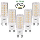LEDGLE [Version améliorée ] Lot de 5 Ampoules LED G9 6W Sans Scintillement 54-LED SMD4014 420lm non-dimmable Equivalent à Ampoule Halogène de 60W avec Large Angle de Faisceau 2800K-Blanc Chaud