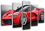 Wandbild - Bild Auto Sport, Ferrari Rot, 165x 62 cm, Holzdruck - XXL Format - Kunstdruck, 26436