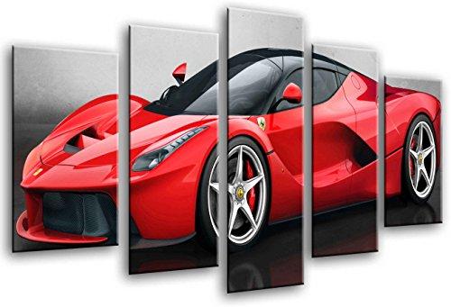 Quadro su Legno, Auto Sportiva, Ferrari Rossa, 165 x 62cm, Stampa in qualita Fotografica. Ref. 26436