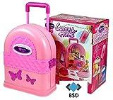 BSD Puppenhaus Tragbare mit Möbeln - Puppenhaus in Einem Koffer - Carry-A-Long Playhouse - Rose Koffer mit Schmetterlingen - Rose Puppenhaus