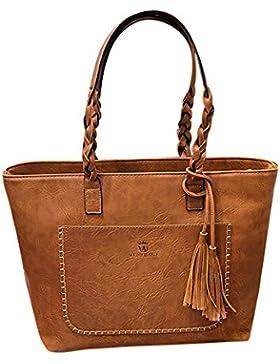 Damen Vintage Handtaschen Schultertasche große Schulranzen Tote Shopper Taschen Henkeltasche Umhängetasche Quasten...