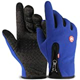 LOUMVE Outdoor Handschuhe Touchscreen Herren Winddicht Reiten Reißverschluss Übung Winter Warme Bergsteigen Skifahren Handschuhe Anti Rutsch Blau Freie Größe