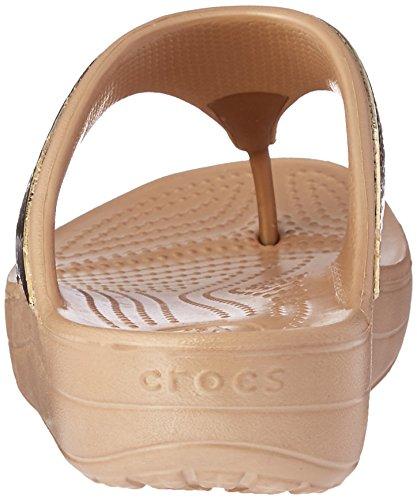 204181 Crocs Sloane Embellished Flip - 0C4 Black Multi Gold