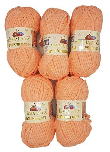 5 x 100 Gramm Himalaya Dolphin Strickwolle, Babywolle 80323 apricot, 500 Gramm Wolle Super Bulky - Himalaya-garn