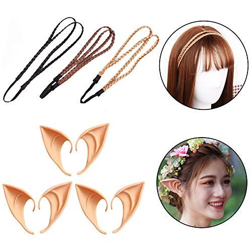WENTS Elfenohren Set, 3 Paar Fantasy Latex Elf Ohren mit 3er Haarband Hobbit Spitzohren zum Aufstecken für Halloween Cosplay Karneval Party Fasching Kostüm
