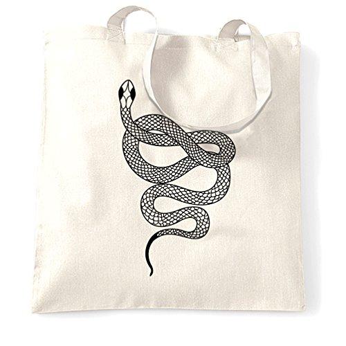 Illustrated Snake tatuaggio ispirato originale fresco Sacchetto Di Tote White