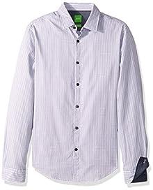 92b8b7596 BOSS Green Men's C-Bluemoon Detailed Long Sleeve Shirt, Dark Blue/White,
