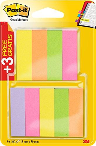 Post-it 670-6+3 Haftstreifen Page Marker (schmal, 15 x 50 mm) 9 x 100 Blatt, neonpink/-grün/-gelb/-orange/-violett