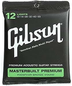 Gibson SAG-MB12 Masterbuilt Premium Phosphor Bronze Acoustic Guitar Strings, 0.012-0.053 Light Gauge