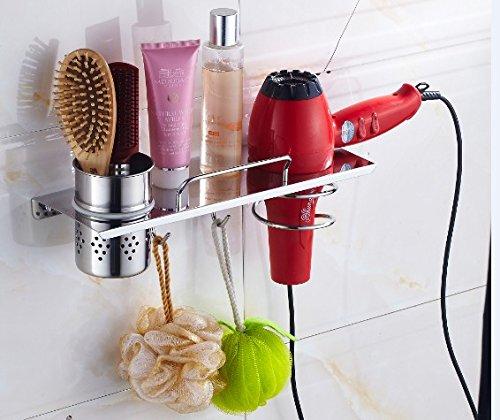 K23-455 Modern Design Haartrocknerhalter, Badezimmerablage mit 1 Tasse und 2 Haken, Edelstahl 304 (18/8), Chrom, zur Wandmontage, Größe 350x120mm