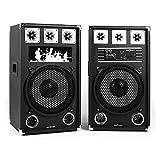 oneConcept BSX-12A • aktives Lautsprechersystem • PA Lautsprecher Paar • 2-Wege Lautsprecher-System • 160 Watt Peak-Leistung • MP3-fähiger USB-Port / SD-Slot • je 12'' (30 cm)-Subwoofer • Power LED • Echo-Effekt • Bassreflexgehäuse • Tragegriff • schwarz