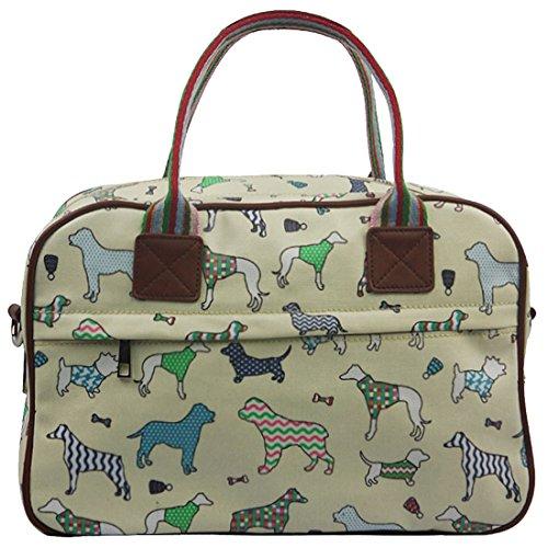 Kukubird Dog Varietà Stampa Matte Canvas Handbag Satchel Pernottamento Con Il Sacchetto Di Polvere Di Kukubird Beige