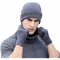 3 pack de Guantes de pantalla táctil + Cuello de bufanda + sombreros mujer invierno fiesta sombreros cowboy de tejer lana gorras hombre invierno beisbol Gorro de punto by Sannysis (Gris)