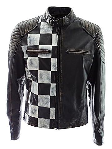 Belstaff Burnell-Cafe Racer Blouson - Man Leather Jacket - Biker - Black/Pumice - Gr.48 / M