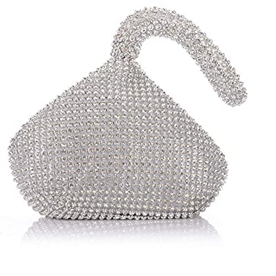 Groupcow Silver Crystal Diamond Ladies Party Evening Wedding Clutch Hand Bag Pouch Purse (EB0041)
