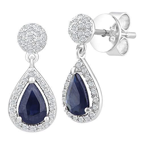 Naava Damen-Ohrhänger 750 Weißgold 0,25k Diamanten 18k mit tränenförmigen Saphir Tropfen Ohrringe rhodiniert blau Tropfenschliff
