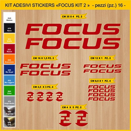 Pimastickerslab Aufkleber Fahrrad FOCUS KIT2 Kit Aufkleber Stickers 16 Stück – bici Bike Cycle wählbar Cod.0829 (031 ROSSO)