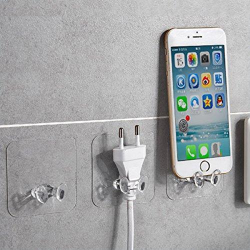 Mobiltelefon Zauber-Haken | ohne Bohren | flexibel einsetzbare Tür-Haken | Wand-Haken für Geräte, Utensilien, Kleider-Haken für Jacken, Schals, Gürtel | Badezimmer-Haken (Transparent 12Packs) -