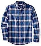 Amazon essentials Herren Regular-Fit Langarm kariertes Flanellhemd, Blau (Blue Ombre Plaid), Medium