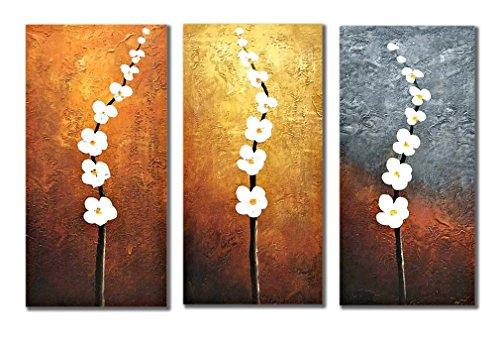 k/set Ölgemälde Arbeit 100% Handgemaltes Gemälde auf Leinwand Abstrakte Moderne Landschaft Groß Weiße Blumen Pflaume Baum Geäst Wandbilder Schlafzimmer Bilder für Hausdekor Wandkunst, ohne Rahmen (Halloween-baum Zeichnung)